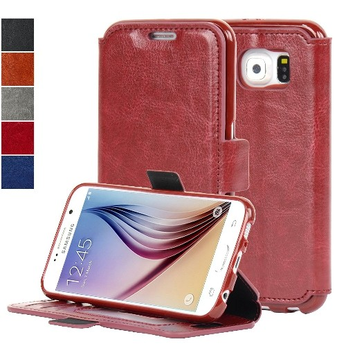 NAVOR Ultra Slim Protective Flip Wallet Case for Samsung Galaxy S6 - Maroon