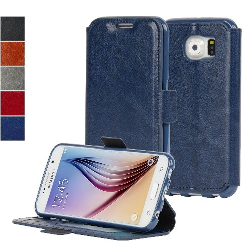 Navor Wallet Case for Samsung Galaxy S6 - Navy Blue