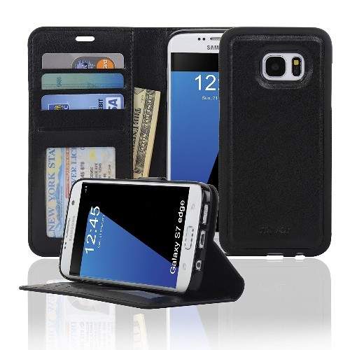 Navor JOOT1 Series Samsung Galaxy S7 Edge Wallet Case with Magnetic Detachable Cover - Black
