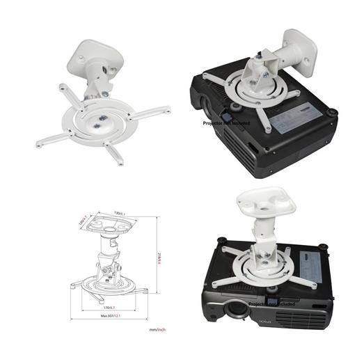 Duramex Projector Mount - Universal Ceiling Bracket LCD DLP Tilt 360° Swivel (White Aluminum)