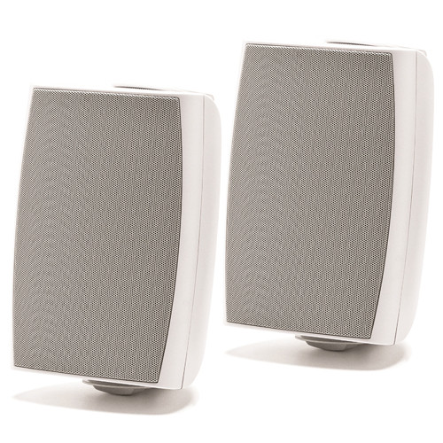 "Prologue 6.5"" 100W Outdoor-Indoor Speakers Pair 8 Ohms Or 70V With Wall Mounting Brackets White"