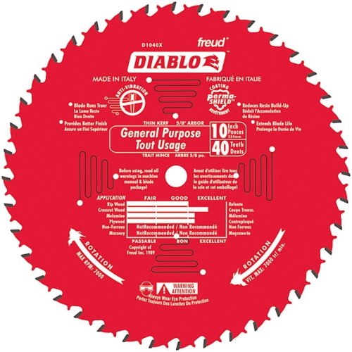 Freud 10in. 40T Diablo General Purpose Chop Miter and Table Saw Blad D1040X