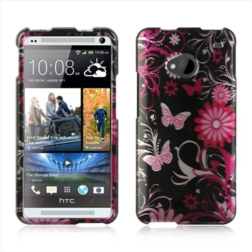 DreamWireless CAHTCM7PKBF Htc One M7 Crystal Case - Pink Butterfly