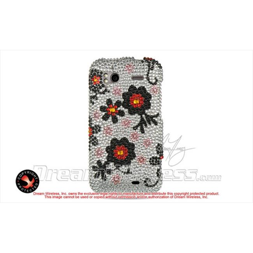 DreamWireless FDHTCSENSLBKDA Htc Sensation 4G Full Diamond Case Silver With Black Daisy