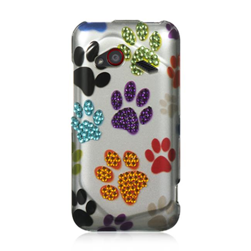 DreamWireless SDAHTCINC4GSLMTDP HTC Droid Incredible 4G LTE Spot Diamond Case Silver Multi Dog Paws