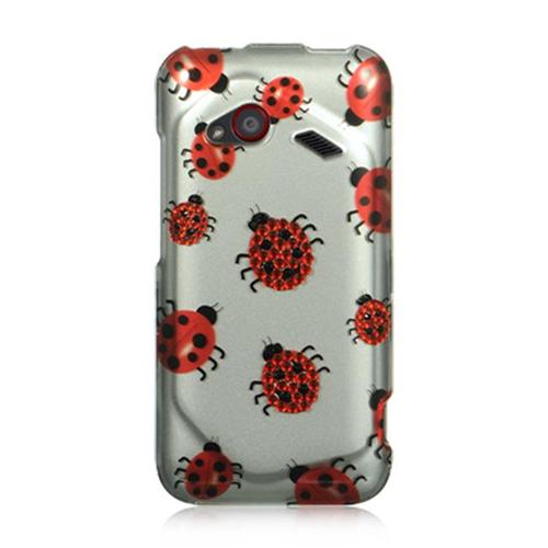DreamWireless SDAHTCINC4GSLLBUG HTC Droid Incredible 4G LTE Spot Diamond Case Silver Ladybug