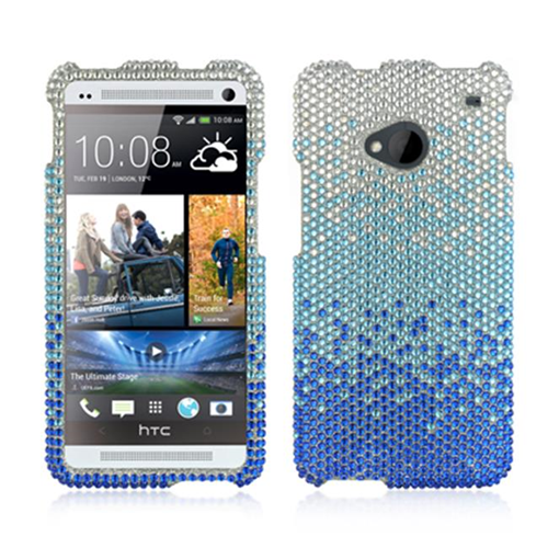 DreamWireless FDHTCM7CASLBL Htc One M7 Full Diamond Case Cascade Silver Blue