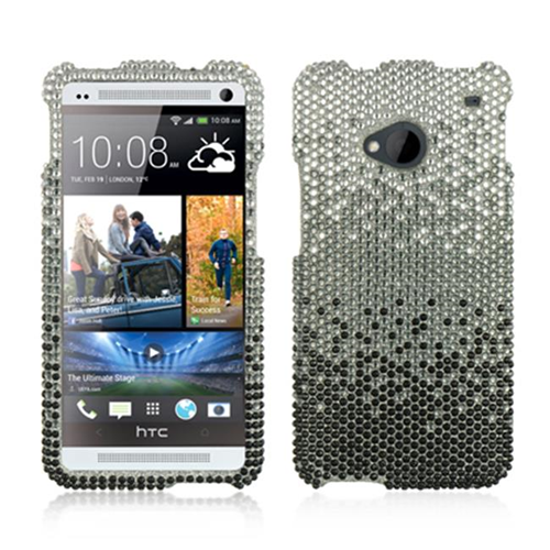 DreamWireless FDHTCM7CASLBK Htc One M7 Full Diamond Case Cascade Silver Black