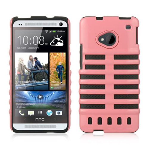 DreamWireless CSAHTCM7SKEPKBK HTC One M7 Hybrid Skeleton Pink & Black