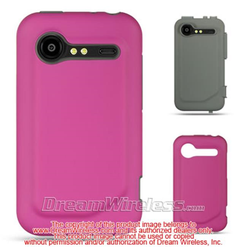 DreamWireless HESCRHTC6350DGY-HP High-End Htc Incredible 2-6350 Dark Gray Skin Plus Hot Pink Rubber 2 In 1 Case