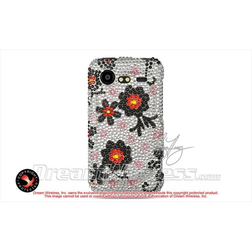DreamWireless FDHTC6350SLBKDA Htc Incredible 2 6350 Full Diamond Case Silver With Black Daisy