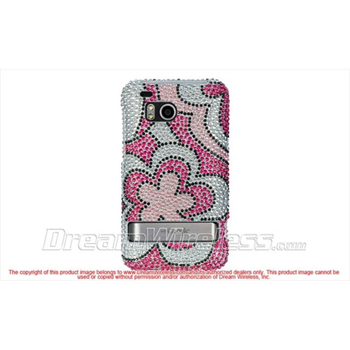 DreamWireless FDHTCINCHDHPFL Htc 6400 Thunderbolt Incredible Hd Full Diamond Case Hot Pink Flower