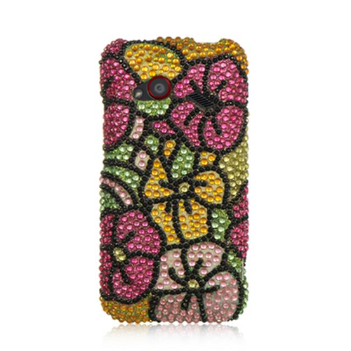 DreamWireless FDHTCINC4GGRHPHF Htc Droid Incredible 4G Lte Full Diamond Case Green Hot Pink Hawaii Flower