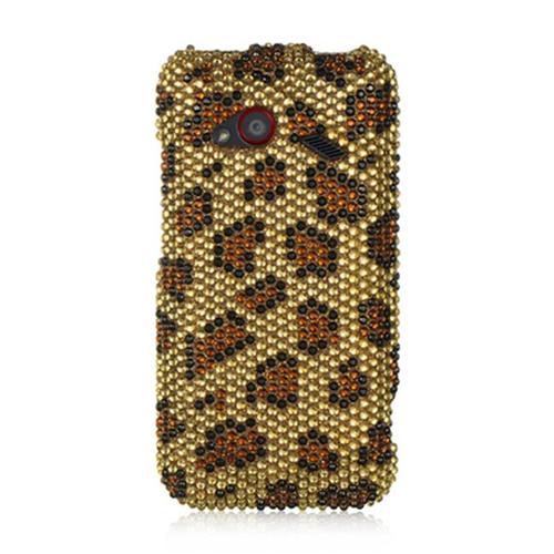 DreamWireless FDHTCINC4GGOLE Htc Droid Incredible 4G Lte Full Diamond Case Golden Leopard