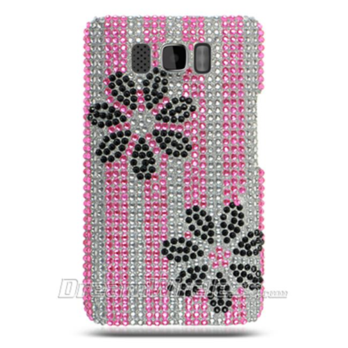 DreamWireless FDHTCHD2PKBKFL-R Htc Hd2 Full Diamond Case Pink And Black Flower Rear Only