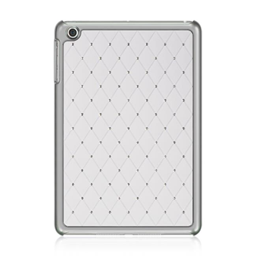 DreamWireless IPOD-CHIDMINISTDWT-R Apple iPad Mini Chrome Case - Plaid Studded Diamond White