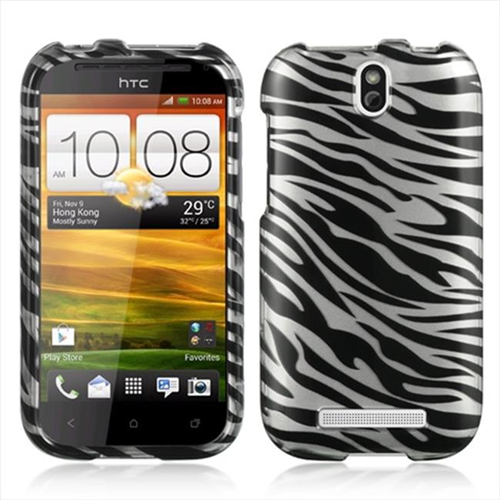 DreamWireless CAHTCONESVSLZ Htc One Vl Sv Crystal Case - Silver Zebra