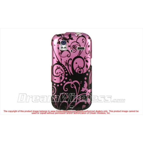 DreamWireless CAHTCAMAZEPPBKSW Htc Amaze 4G Ruby Crystal Case - Purple with Black Swirl
