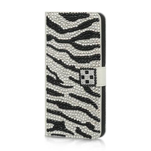 DreamWireless JLHTCM7VWPSLZ HTC M7 Vertical Wallet Pouch With Fr Diamond Cover - Silver Zebra