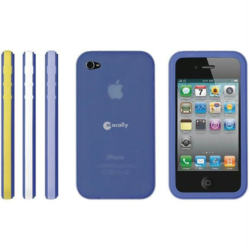 Macally Tribandn Iphone 4 Navy Silcone Case With Interchangeable Color Trim