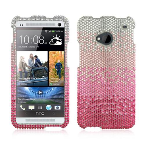 DreamWireless FDHTCM7CASLPK Htc One M7 Full Diamond Case Cascade Silver Pink
