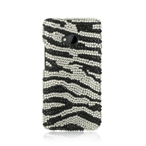 DreamWireless JDHTCM7SLZ-R HTC One M7 Glass Diamond Case Zebra - Silver