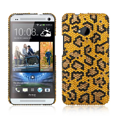 DreamWireless JDHTCM7GOLE-R HTC M7 Glass Diamond Case Leopard - Golden