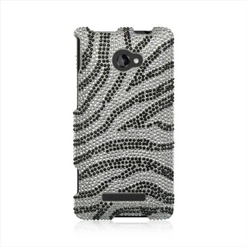 DreamWireless FDHTC8XSLZ Htc 8X Full Diamond Case Silver Zebra