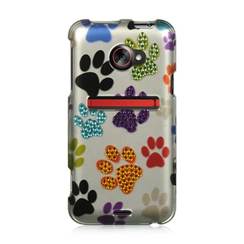 DreamWireless SDAHTCEVO4GSLMTDP HTC Evo 4G LTE Spot Diamond Case Silver Multi Dog Paws