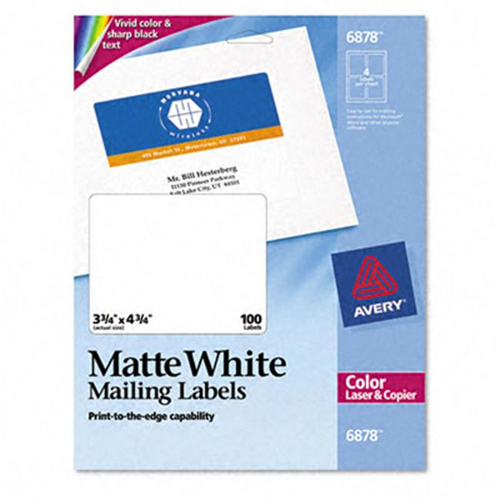 Avery 6878 laser labels for color printing 3 34 x 4 34 white 100 avery 6878 laser labels for color printing 3 34 x 4 34 white 100 pack online only saigontimesfo