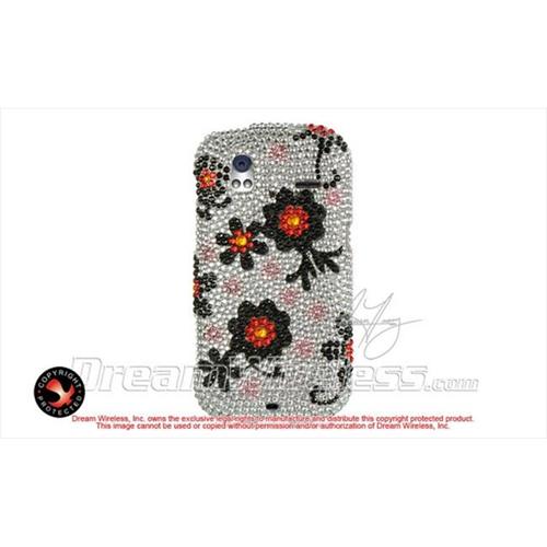 DreamWireless FDHTCAMAZESLBKDA Htc Amaze 4G Ruby Diamond Case Silver With Black Daisy
