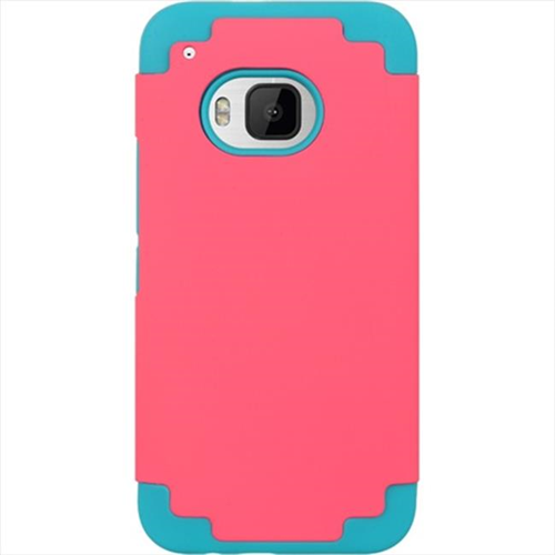 DreamWireless SCRHTCM9-BLHP Htc M9 Hybrid Case Blue Skin Plus Hot Pink Rubber Pc