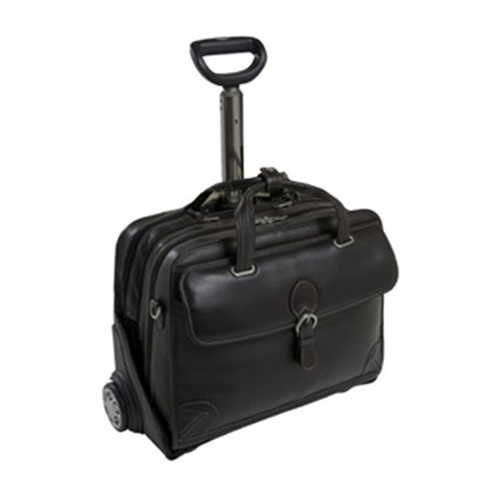 Siamod 45295 Carugetto Black Leather Detachable Wheeled Laptop Case