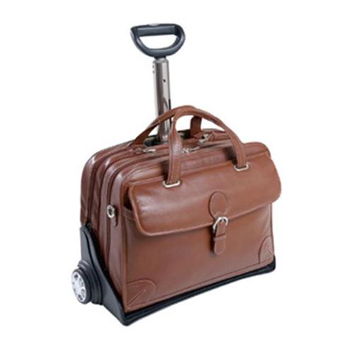 Siamod 45294 Carugetto Cognac Leather Detachable Wheeled Laptop Case