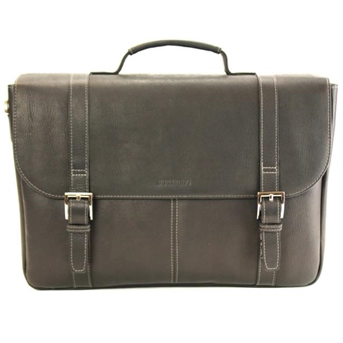 Heritage Travelware 827695 Black Colombian Leather Dual Compartment Flap Over Portfolio & Computer Case