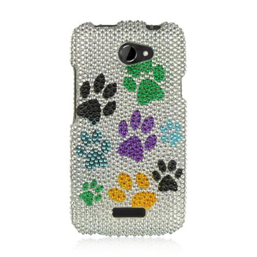 DreamWireless FDHTCONEXSLMTDP Htc One X Full Diamond Case Silver Multi Dog Paws