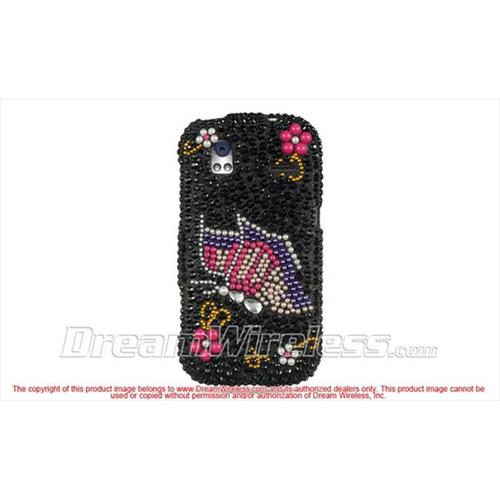DreamWireless FDHTCAMAZEBKRBBF Htc Amaze 4G Ruby Full Diamond Case Black Rainbow Butterfly