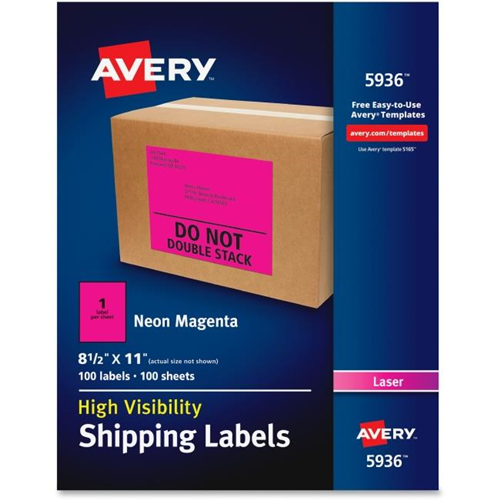 Avery Dennison Ave5936 85 X 11 In Neon Shipping Label Magenta 100