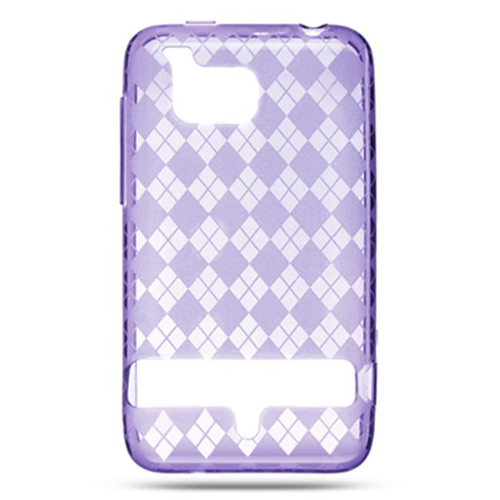DreamWireless CSHTCINCHDPPCK HTC Thunderbolt 4G & Incredible HD & 6400 Crystal Skin Purple Checker