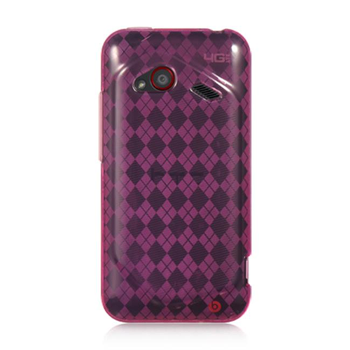 DreamWireless CSHTCINC4GHPCK HTC Droid Incredible 4G LTE Crystal Skin Case Hot Pink Checker