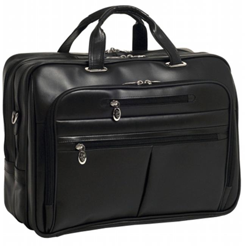 McKlien 86515 Rockford 86515- Black Leather Fly-Through Checkpoint-Friendly 17 in. Laptop Case
