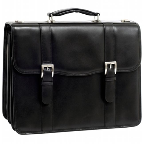 McKlien 85955 Flournoy 85955- Black Leather Double Compartment Laptop Case