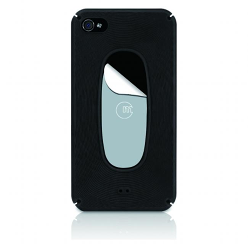Macally MetroBP4 Black Snap-On Portective Case Plus Sticky Swipe for iPhone4