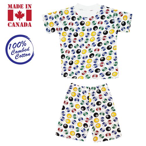 Vals Kids 2-piece, T-Shirt & Elastic Shorts, 6 Years Extra Large, Pool Balls
