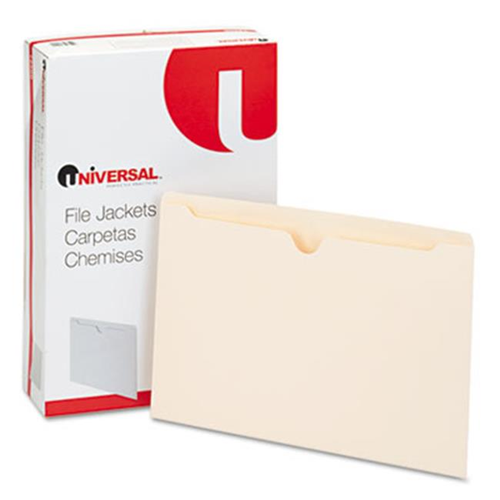 Universal 72500 Economical File Jackets Legal 11 Point Manila 100-Box