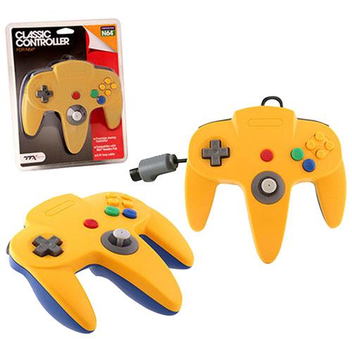 Manette avec fil de N64 classique de TTX Tech - Jaune-bleu