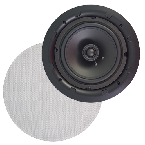 AMX AS-33 Frameless In-Ceiling Speakers 8'' 2-Way 80 Watts 8 Ohms Sold As A Pair White