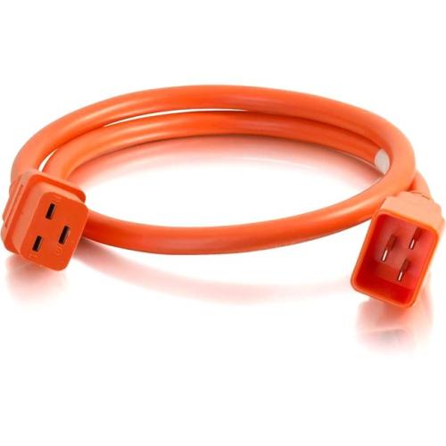 C2G 4ft 12AWG Power Cord (IEC320C20 to IEC320C19) - Orange