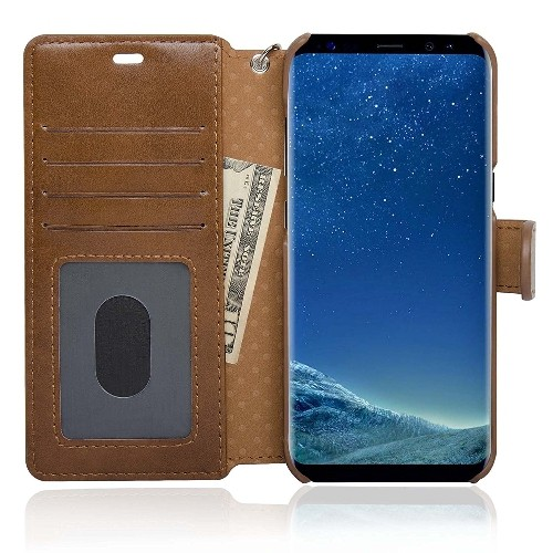 NAVOR Zevo Samsung Galaxy S8 Wallet Case Slim Fit Light Premium Flip Cover with RFID Protection- Brown