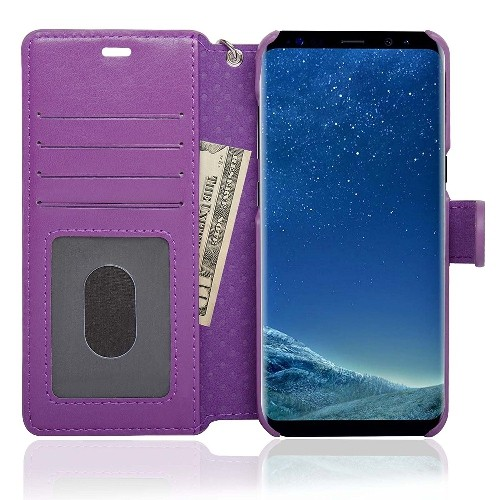 NAVOR Zevo Samsung Galaxy S8 Wallet Case Slim Fit Light Premium Flip Cover with RFID Protection- Purple